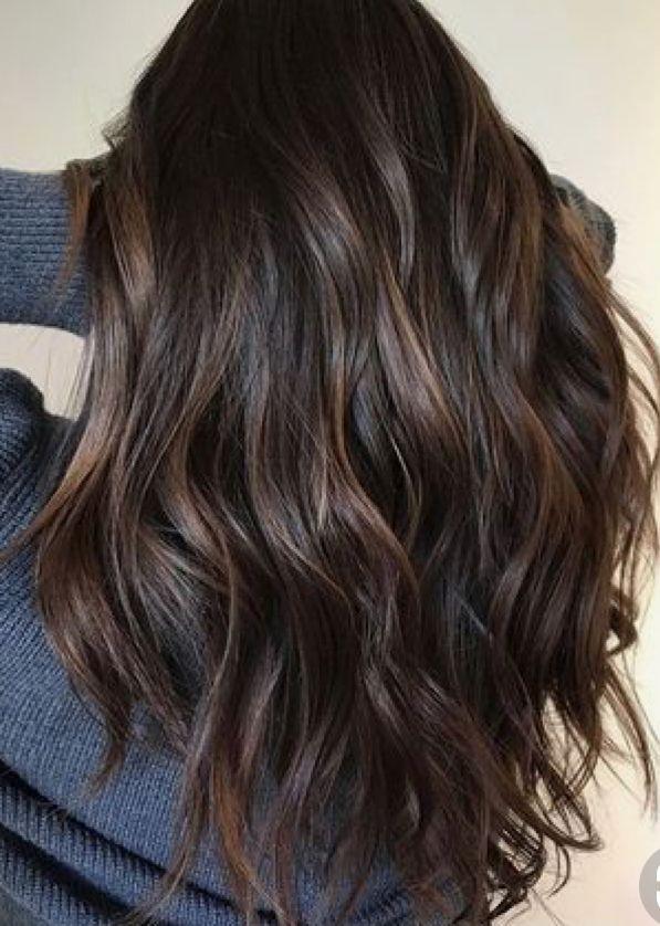 Subtle Bayalage Highlights On Dark Brunette Hair Cabello