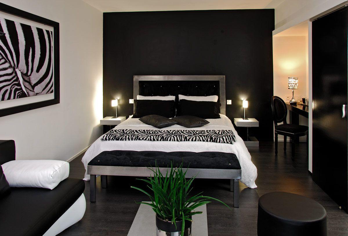 Decoration D Interieur Moderne Chambre Noire Et Blanche On ...