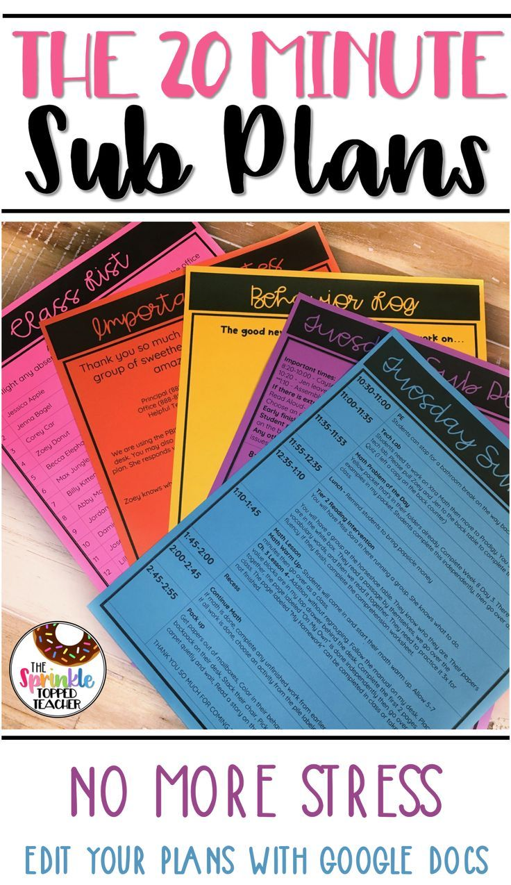 Easy No Prep Sub Plan Template For Any Grade Level! Use With Google Drive Or