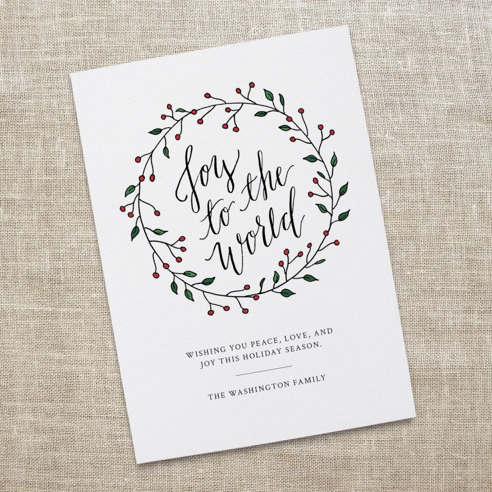 Joy To The World Holiday Card Printable Calligraphy Greeting Etsy Hand Lettered Christmas Calligraphy Christmas Cards Printable Holiday Card
