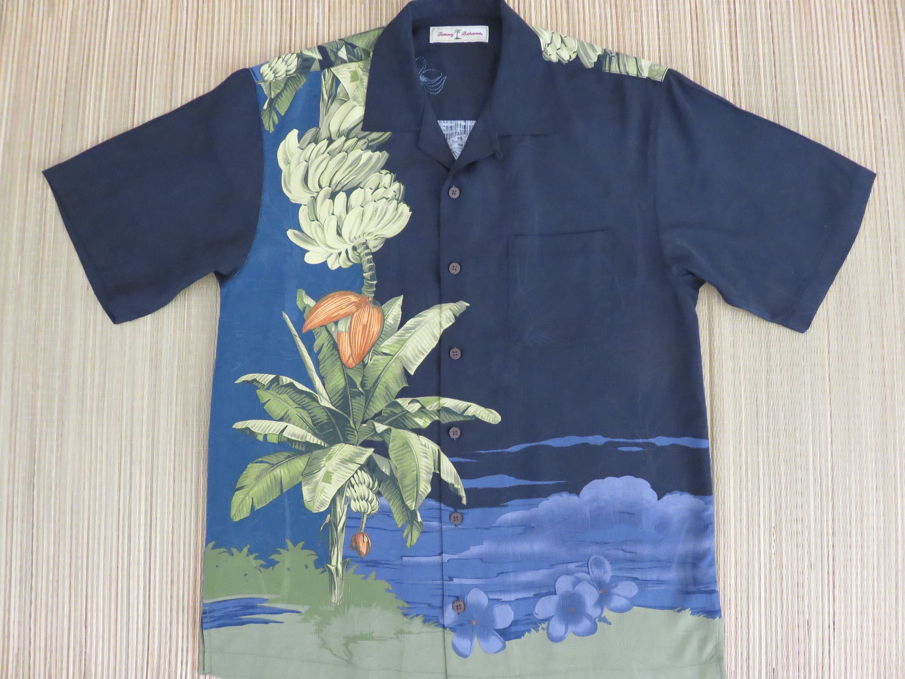 5616d766233 TOMMY BAHAMA Shirt Banana Tree Tropical Copyrighted Print Embroidered  Pulmeria Flower Silk Vintage Aloha Mens - S - Oahu Lew s Shirt Shack by ...