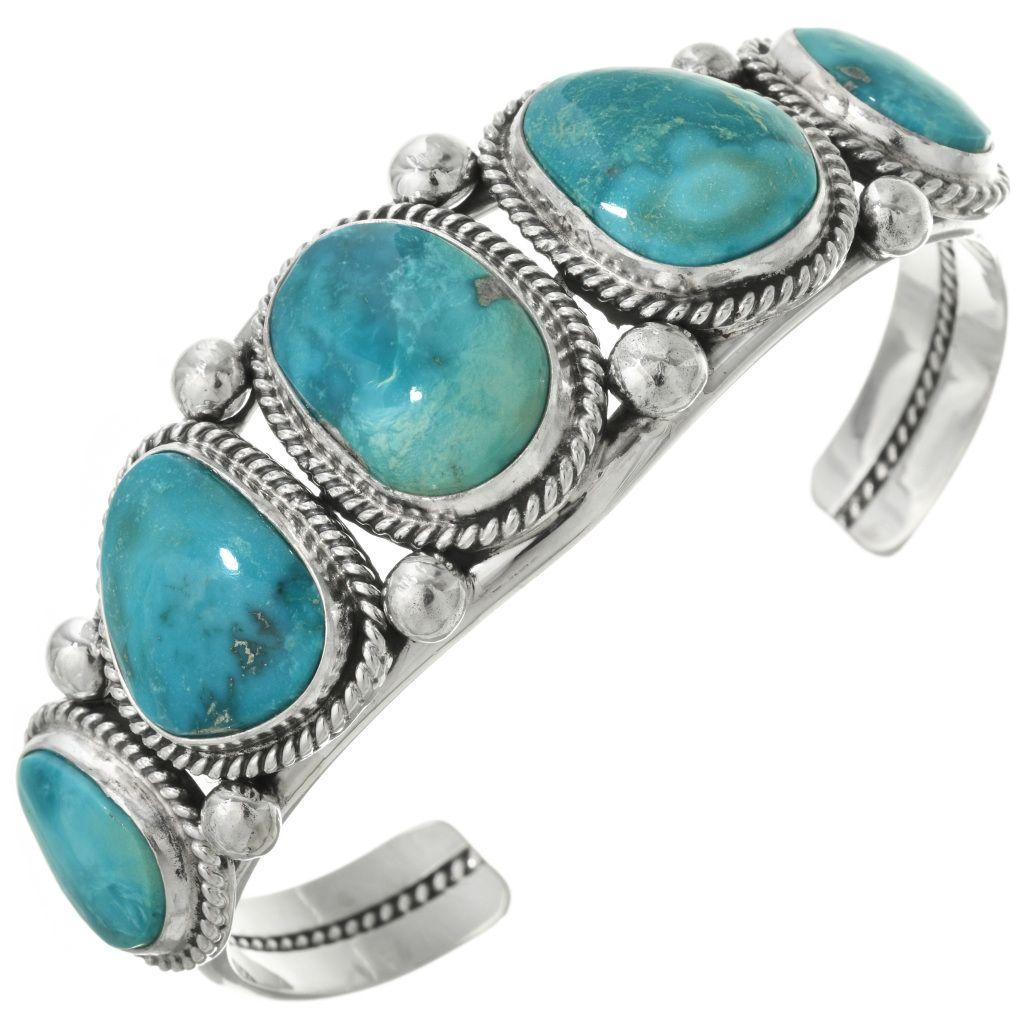 Navajo Sleeping Beauty Turquoise Cuff Sterling Bracelet ...