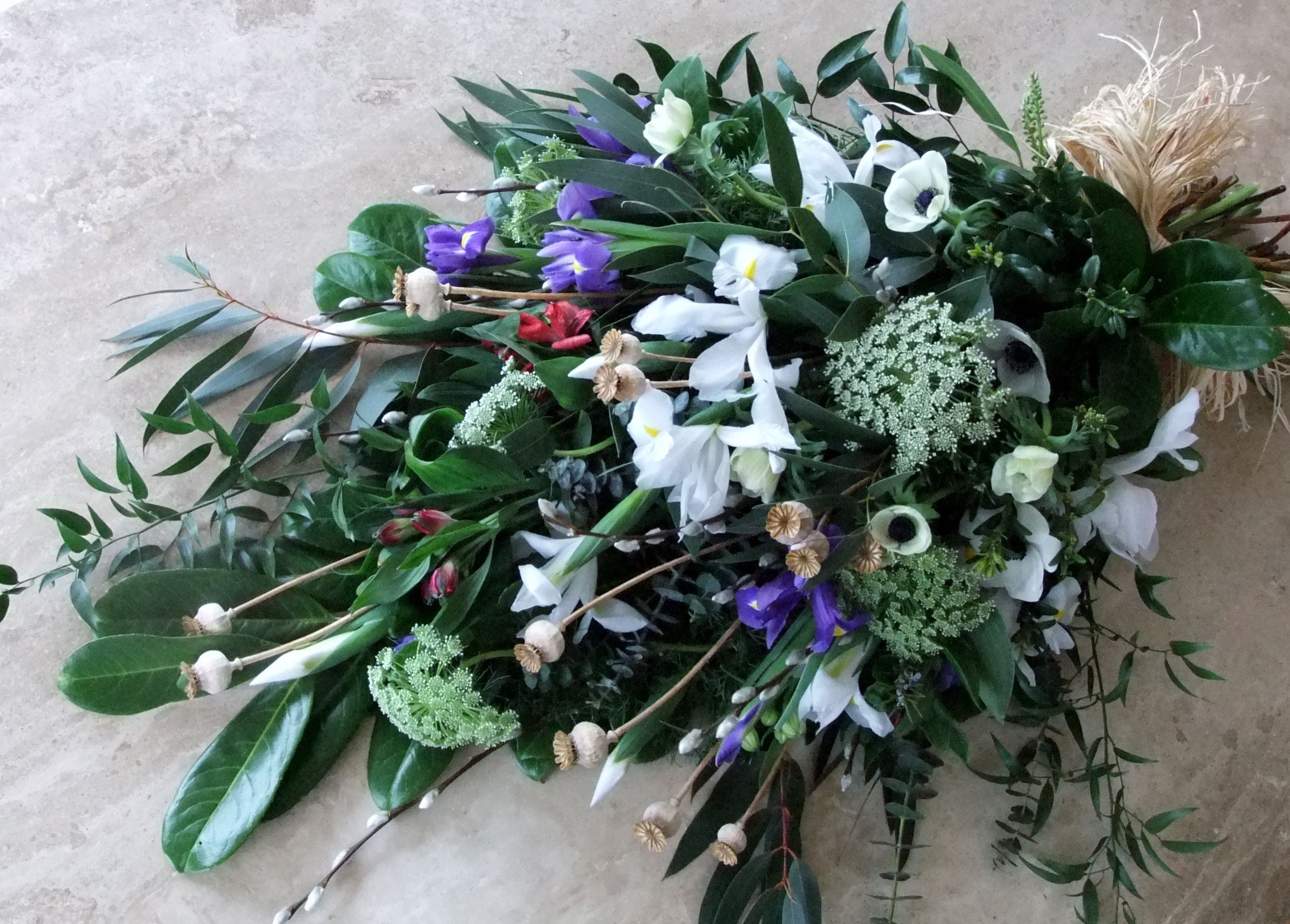 A Funeral Sheaf Of Springtime Country Flowers For A Natural Burial