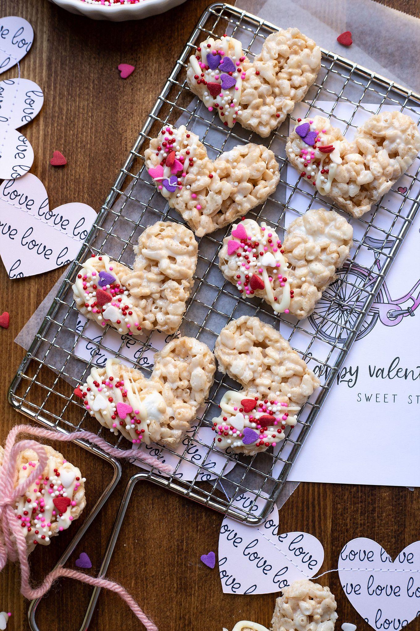 Valentine's Day Heart Rice Krispies Treats   Rice krispie ...