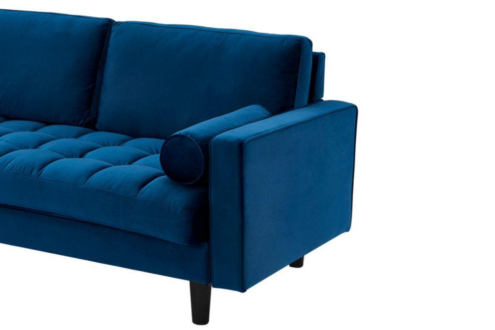 Ecksofa 3 Sitzer Dunkelblau Samt Riess Ambiente De Ecksofas Federkern Sofa Sofa
