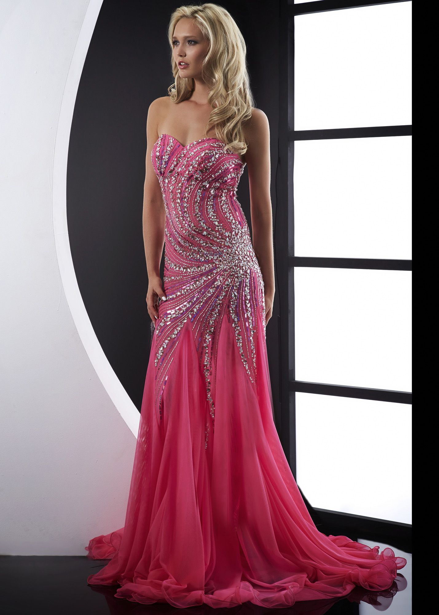 Jasz couture fuchsia strapless fitted chiffon prom dresses