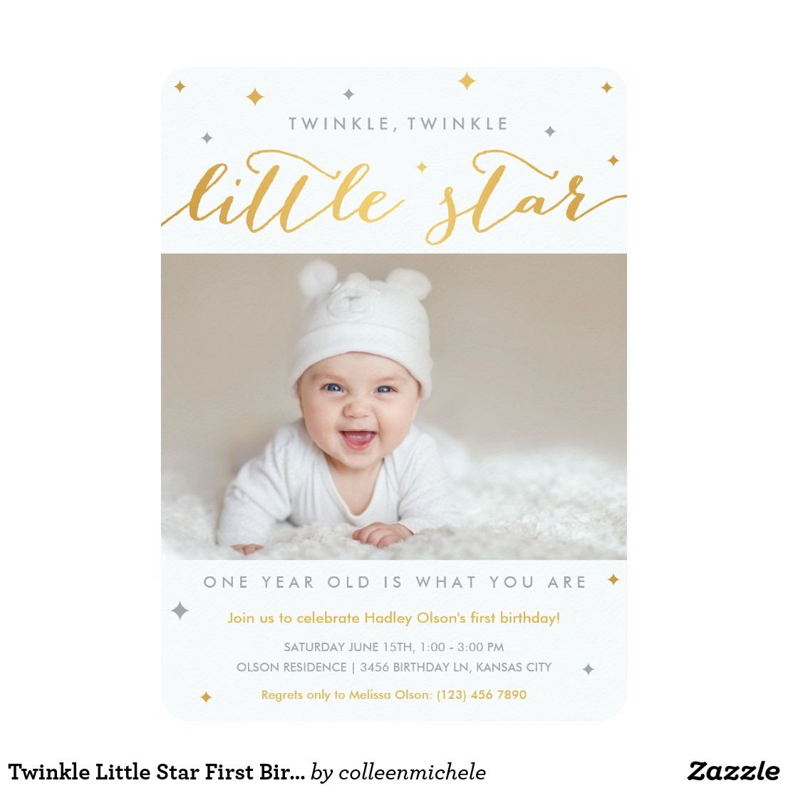 Twinkle Little Star First Birthday Invitations | Twinkle twinkle ...