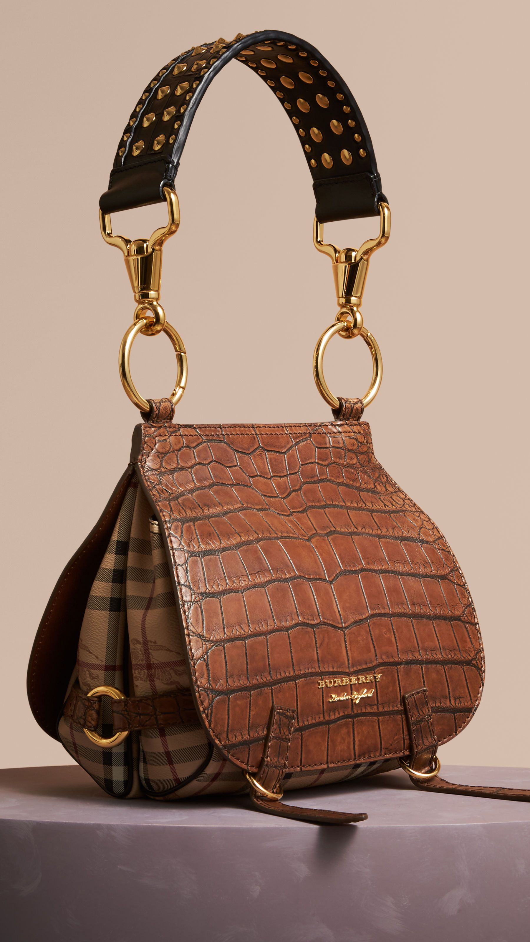 f5387db5dc64 The Bridle Bag in Alligator and Haymarket Check Russet Brown