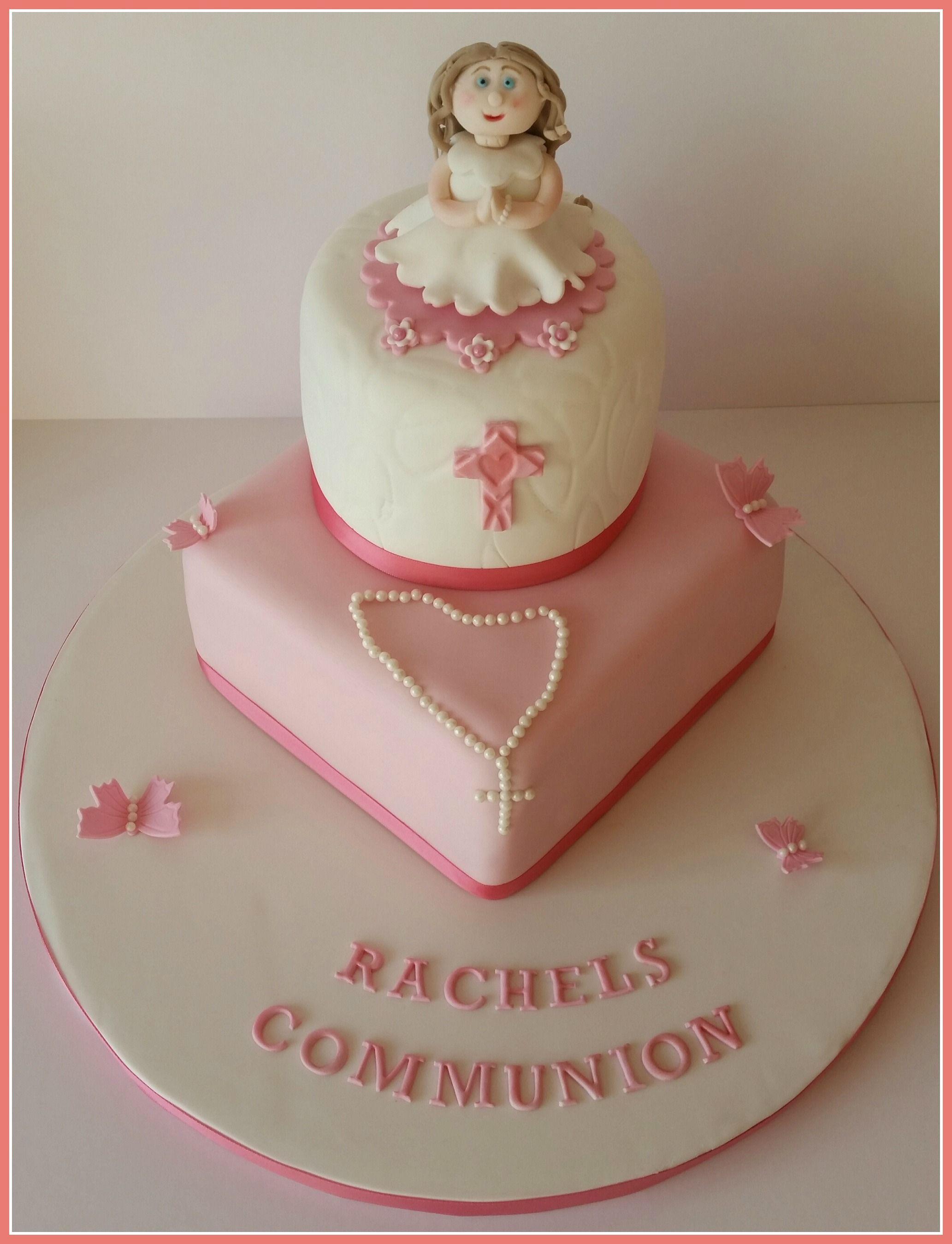 Girls Communion Cake with handmade fondant girl by Cáca