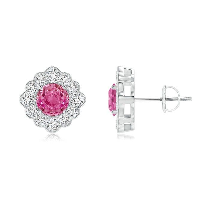 Angara Milgrain-Edged Ruby and Diamond Halo Dangle Earrings in 14K Rose Gold 1k9LhDvs7