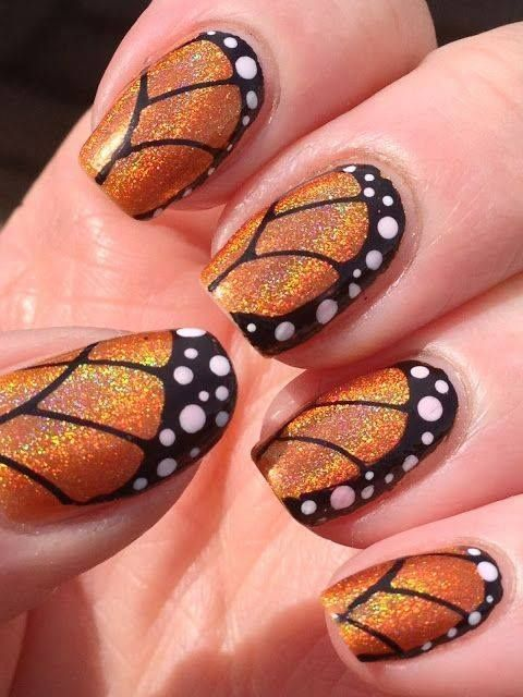 golden butterfly nails