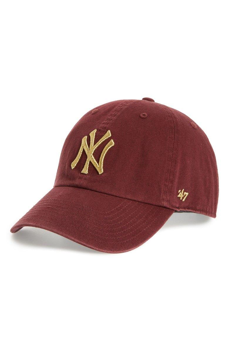 da0b64afcc00d Clean Up New York Yankees Metallic Baseball Cap in Dark Red and Gold ...