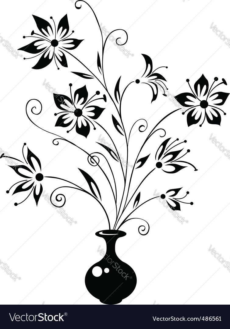 Bouquet Of Flowers Vector Image On Flower Vase Drawing Simple Flower Drawing Flower Drawing Design