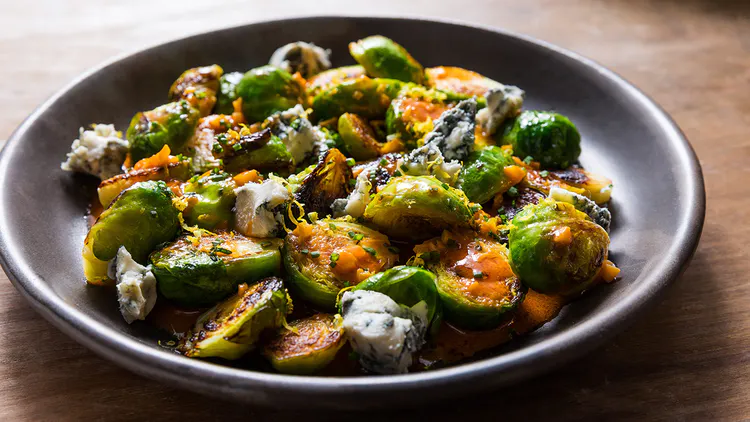 Spicy Buffalo Brussels Sprouts with Blue Cheese #buffalobrusselsprouts Buffalo Brussels Sprouts Recipe | Tasting Table #buffalobrusselsprouts Spicy Buffalo Brussels Sprouts with Blue Cheese #buffalobrusselsprouts Buffalo Brussels Sprouts Recipe | Tasting Table #buffalobrusselsprouts