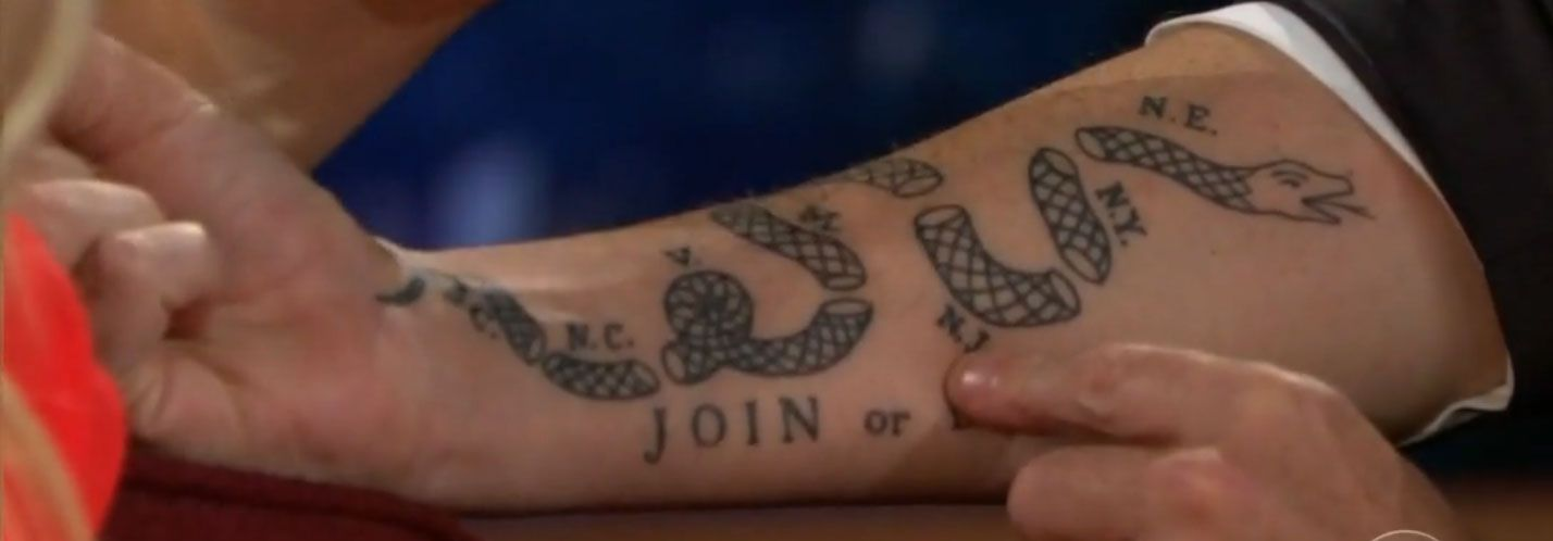 Join Or Die Craig Ferguson S Tattoo Join Or Die Tattoo S Tattoo Craig Ferguson Tattoo