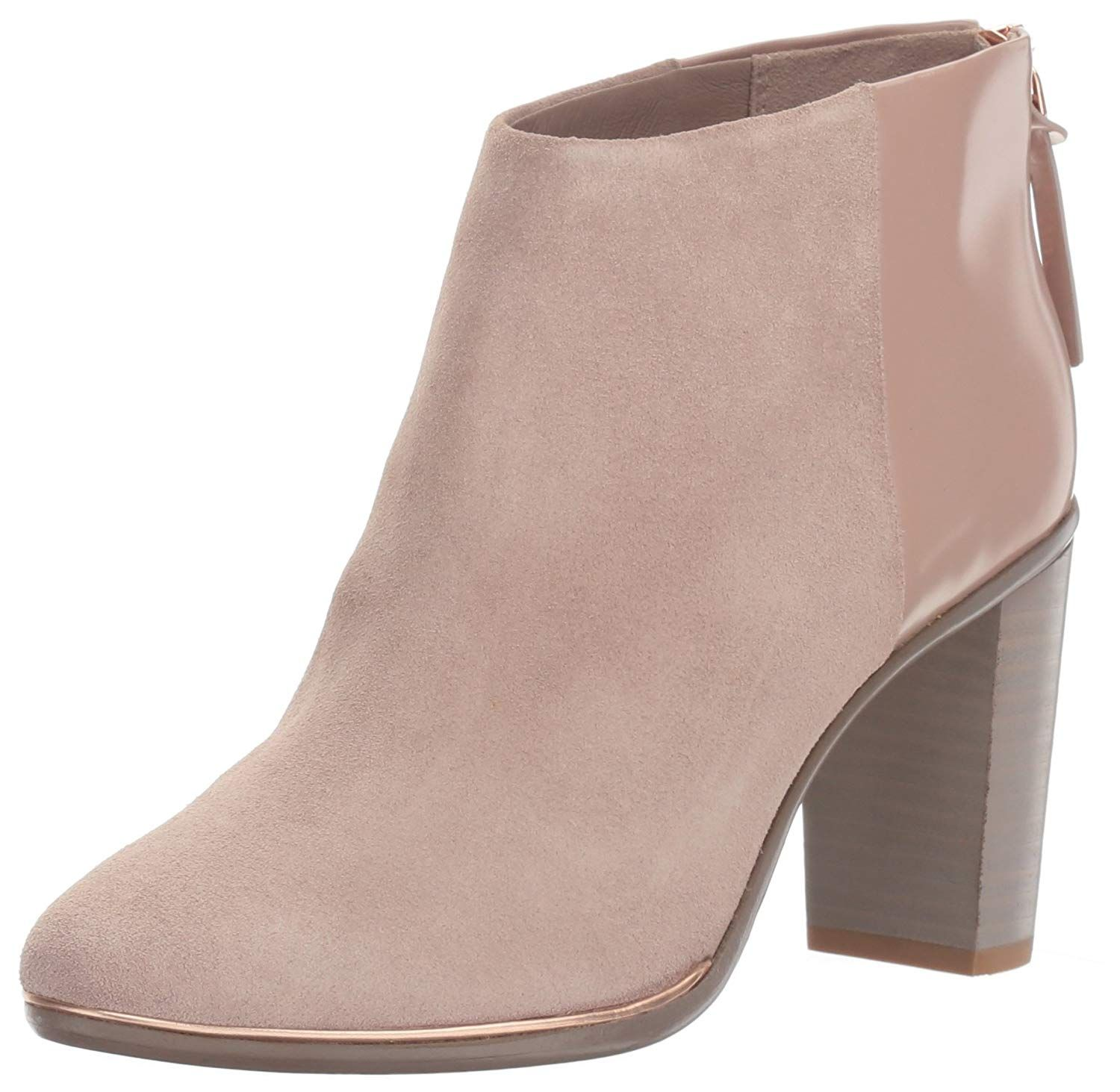 2011b85835d9 Soft leather and suede ankle boot with stained leather stack heel. an  exposed metal zip with branded leather pull, touch of metallic piping at ...