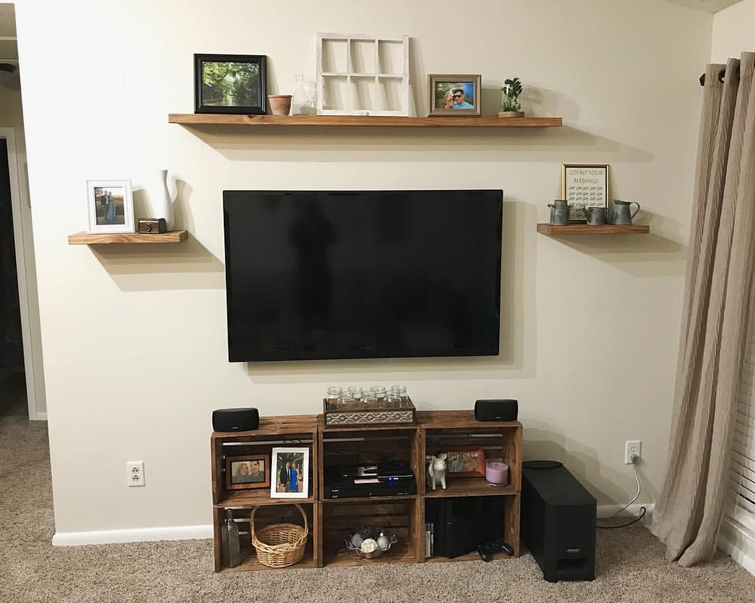 Finished Up Our New Diy Floating Shelves And Tv Cabinet Made From Wooden Crates Diy Rustic Rusticdecor Float Wooden Crates Diy Shelves Floating Shelves Diy