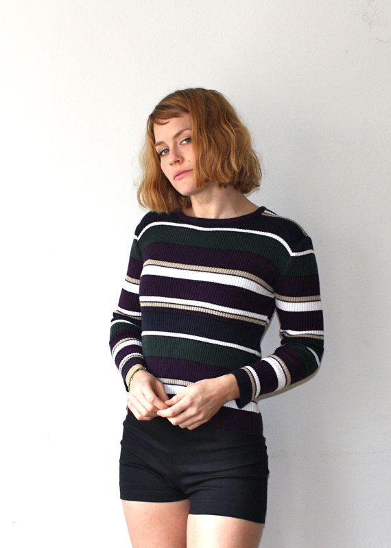 Vintage 90s Striped Sweater XS Small Grunge by GlitterFreak420, $25.00