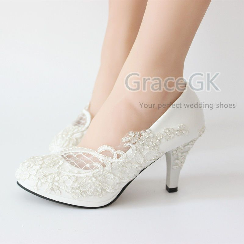 Lace White Ivory Crystal Wedding Shoes Bridal Flats Low High Heel