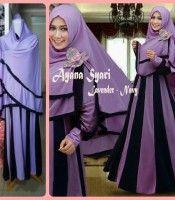 Baju Gamis Syar I Cantik Ayana Lavender Navy Baju Gamis Syari