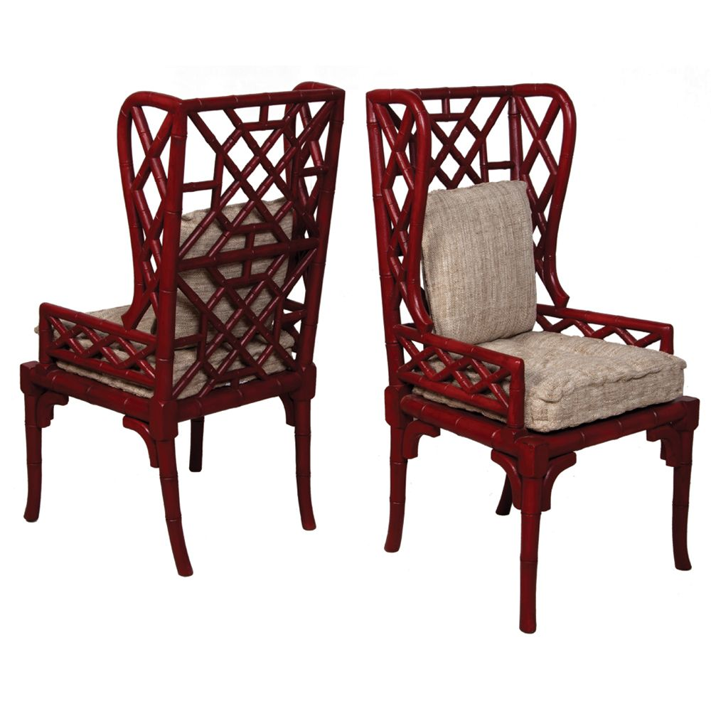 Red Bamboo Wing Back Chairs Bohemian Chic Bohochic Bohochicfurnishings Accent Chair Set Bamboo Chair Carved Chairs