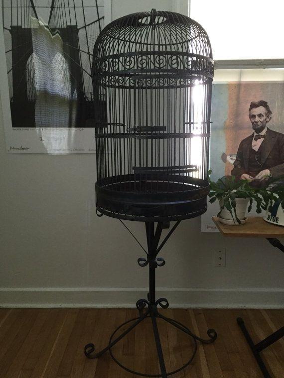 Wrought Iron Bird Cage Metal Bird House Vintage Bird