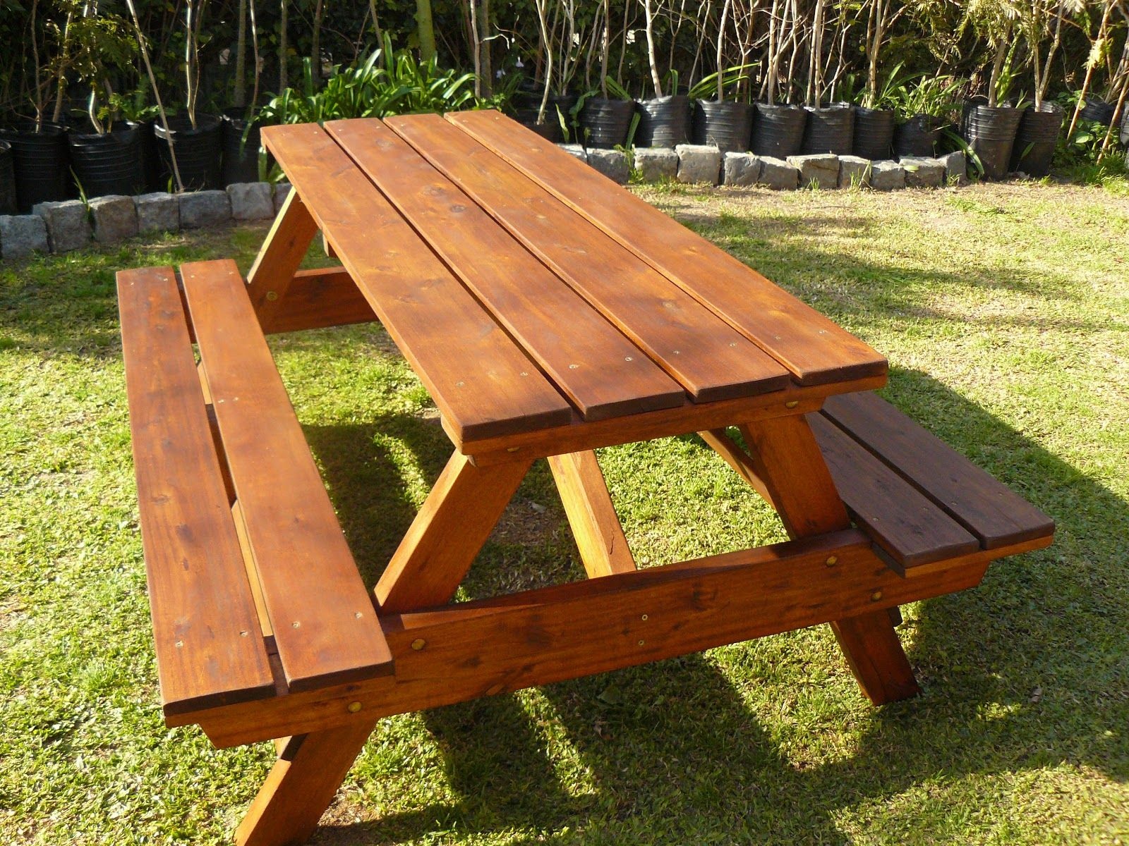 Mesa picnic madera 016 mesa picnic madera pinterest for Mesas para patio