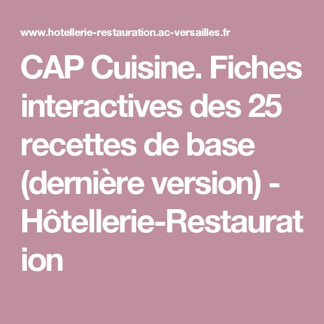 CAP Cuisine Fiches Interactives Des Recettes De Base Dernière - Recette cap cuisine