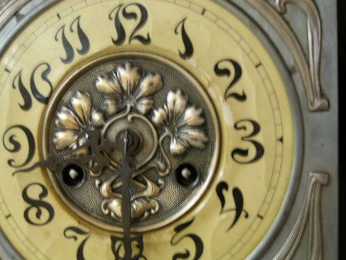 Wall Clock Art Nouveau : Art nouveau silver oak wall clock