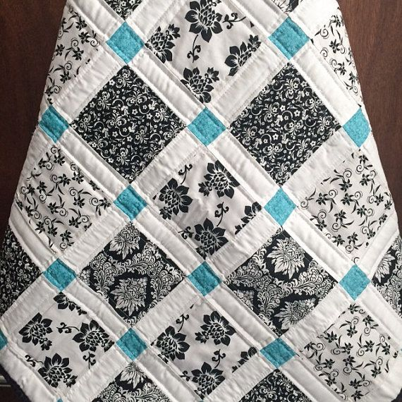 Again this is so simple but i love it another black white and teal quilt so very graphic