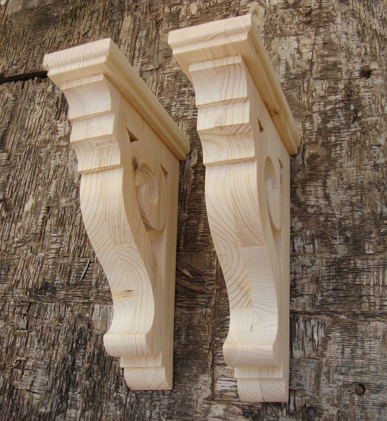 Rustic Shelf Brackets Wooden Corbels Farmhouse Decor Victorian Brackets Handmade Set Of 2 With Images Rustic Shelves Farmhouse Decor Wooden Corbels