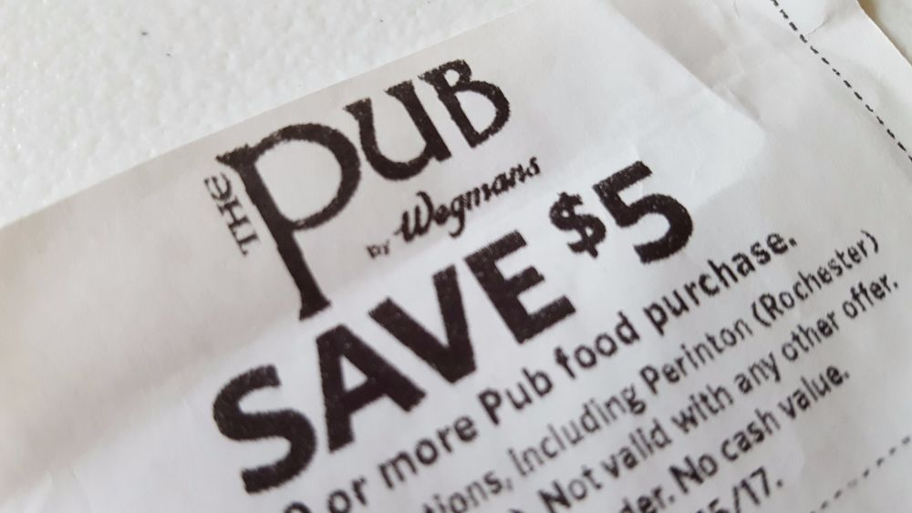 picture regarding Wegmans Printable Coupons called Information pertaining to WEGMANS The PUB Cafe COUPON Help save $5 OFF