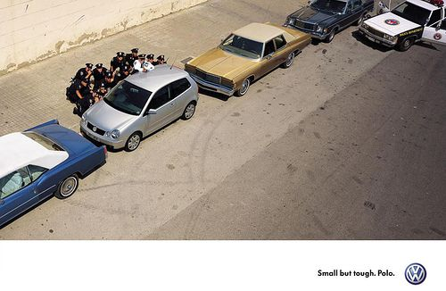 a little ad rivalry -  Volkswagen's Polo ad appeared first: