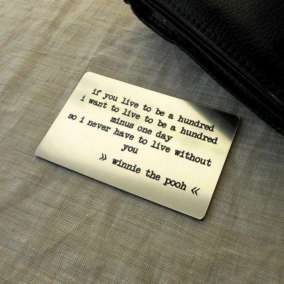Engraved wallet insert card custom