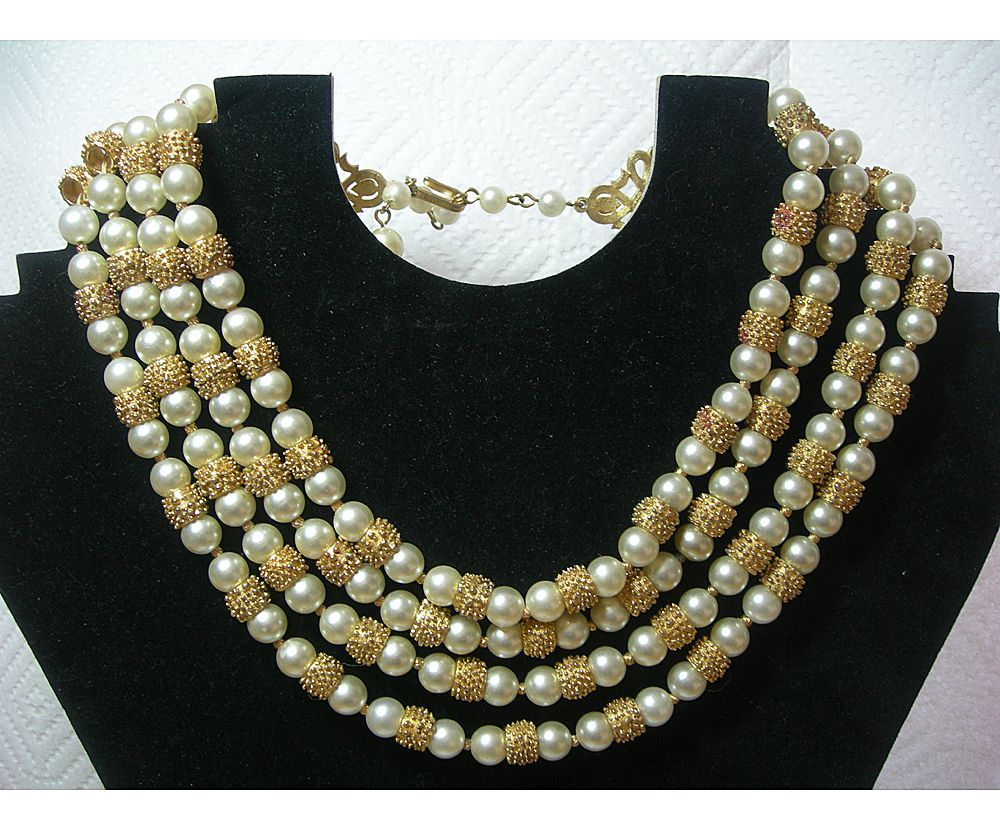 Gorgeous 4 Strand Trifari Necklace with Textured Gold and Faux ...