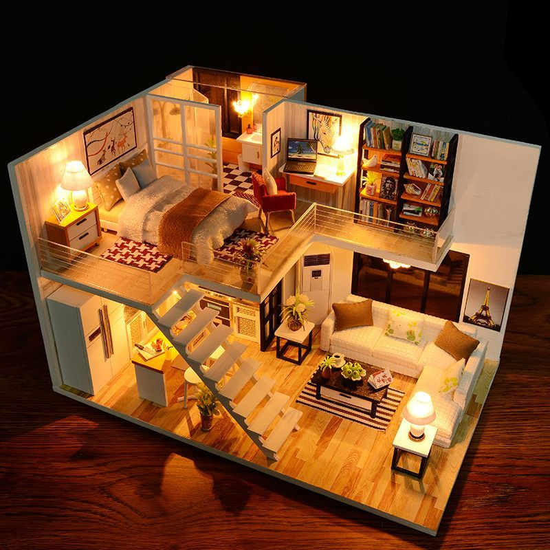Photo of Dollhouse toy handmade wooden furniture miniature LED lights birthday gift …