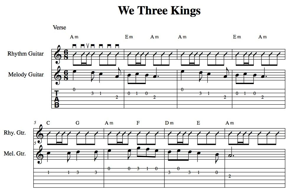 Easy Holiday Songs For Guitar We Three Kings Chords Melody Tab