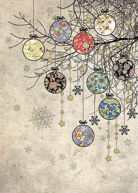 Bauble Branches - christmas card design by Jane Crowther ...