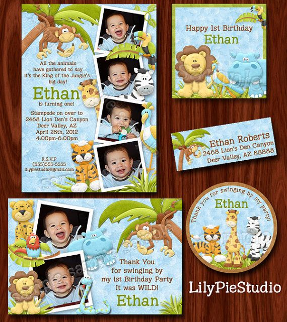 Jungle Safari Zoo Themed Birthday Invitation by LilyPieStudio
