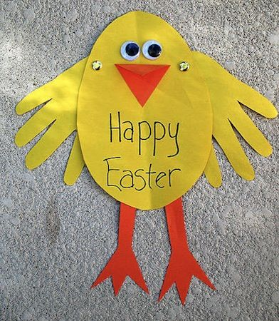 Everyone loves a craft that uses a child's hands to create it.  This cute and sunny yellow Easter chick card makes a perfect holiday greeting for Mom, Grandma or anyone that you care to share it with.  http://crafts.kaboose.com/easter-chick-card.html