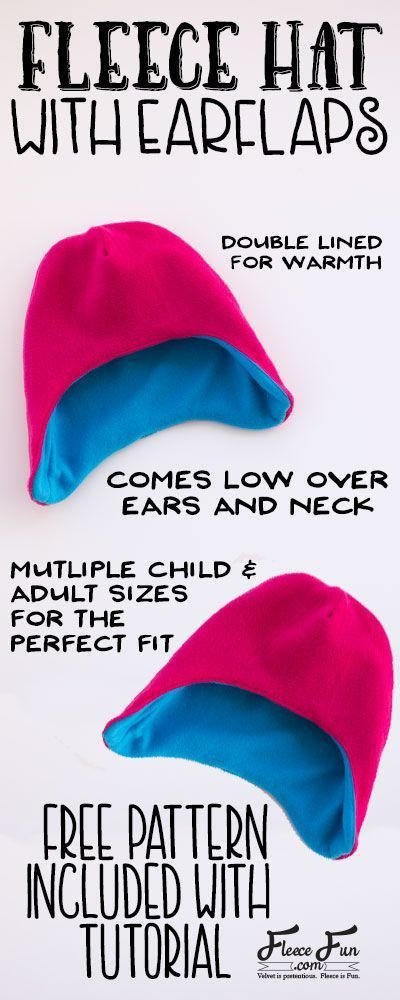 Fleece Hat with Ear Flaps Pattern (free) with tutorial   Hat ...