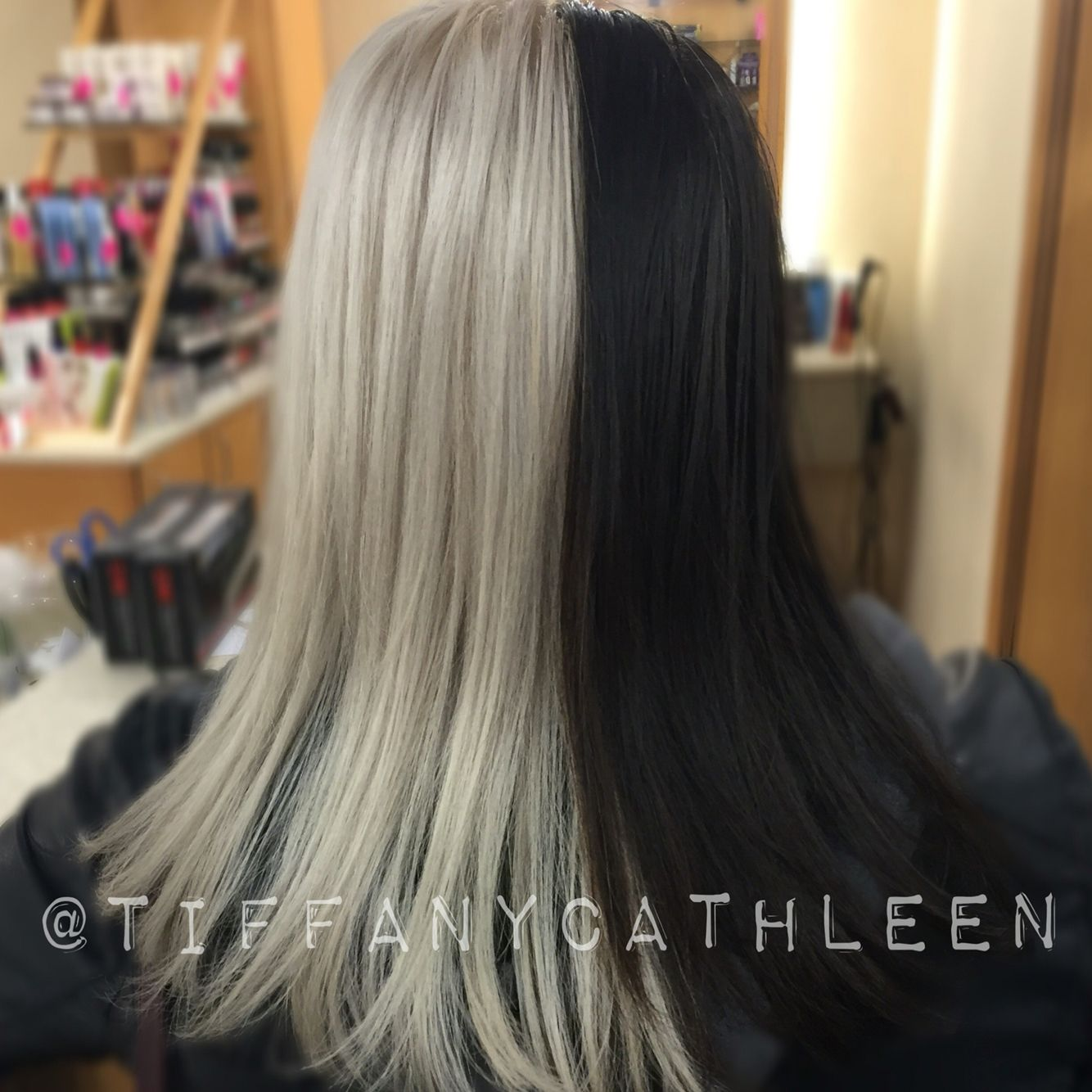 Dark Brown And White Platinum Blonde Cruella Deville Inspired Hair I Used Matrix Lightmaster And Colorsync To Achieve This L Half Dyed Hair Hair Gorgeous Hair