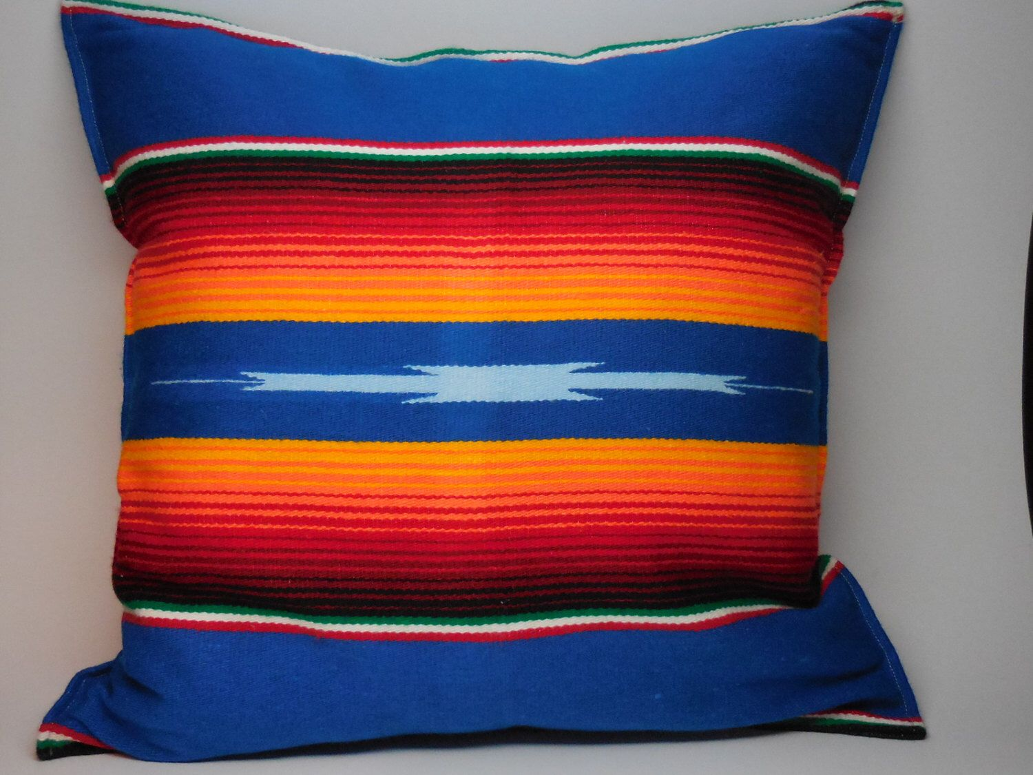 Mexican blanket pillow rustic lodge boho insert included
