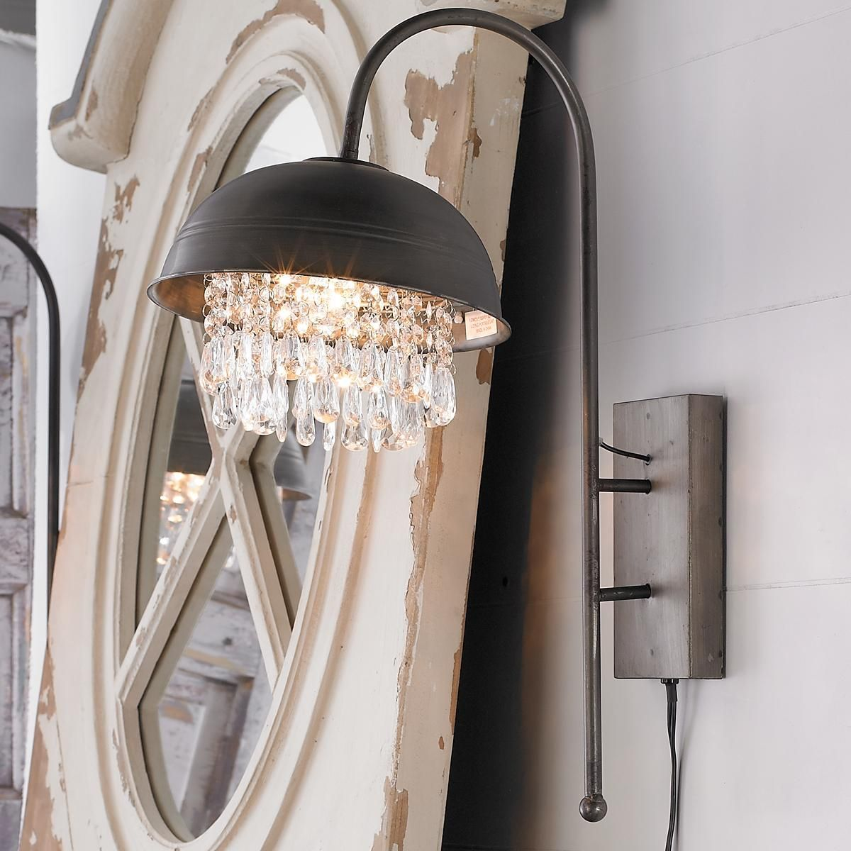Industrial Wall Light With Acrylic Gems