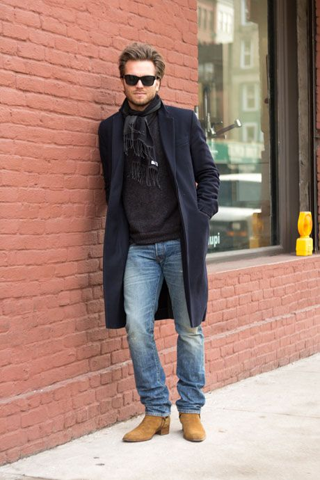 Street Style Light Wash Rrl Jeans And Suede Saint Laurent