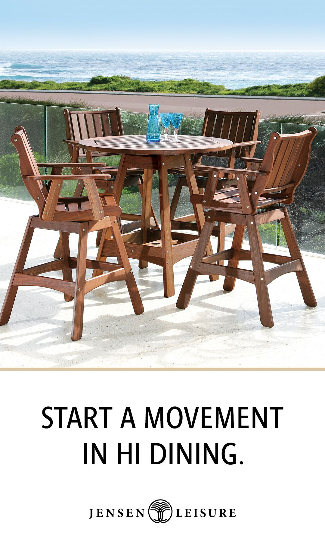 Classic Ipe Wood Outdoor Hi Dining And Swivel Seating Dining Table Ergonomic Seating Ipe Wood