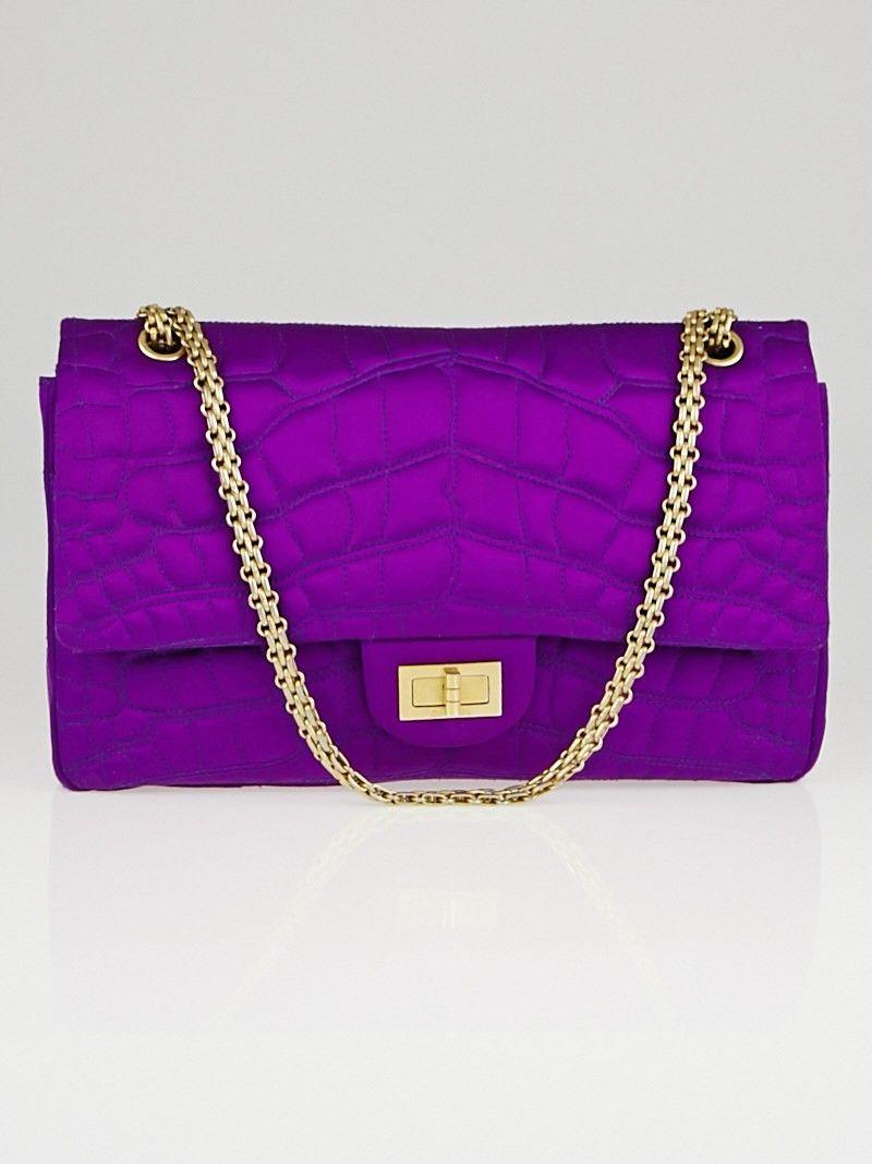 87b1e0c83f7e Chanel Purple 2.55 Reissue Croc Embroidered Satin 227 Flap Bag - Yoogi's  Closet