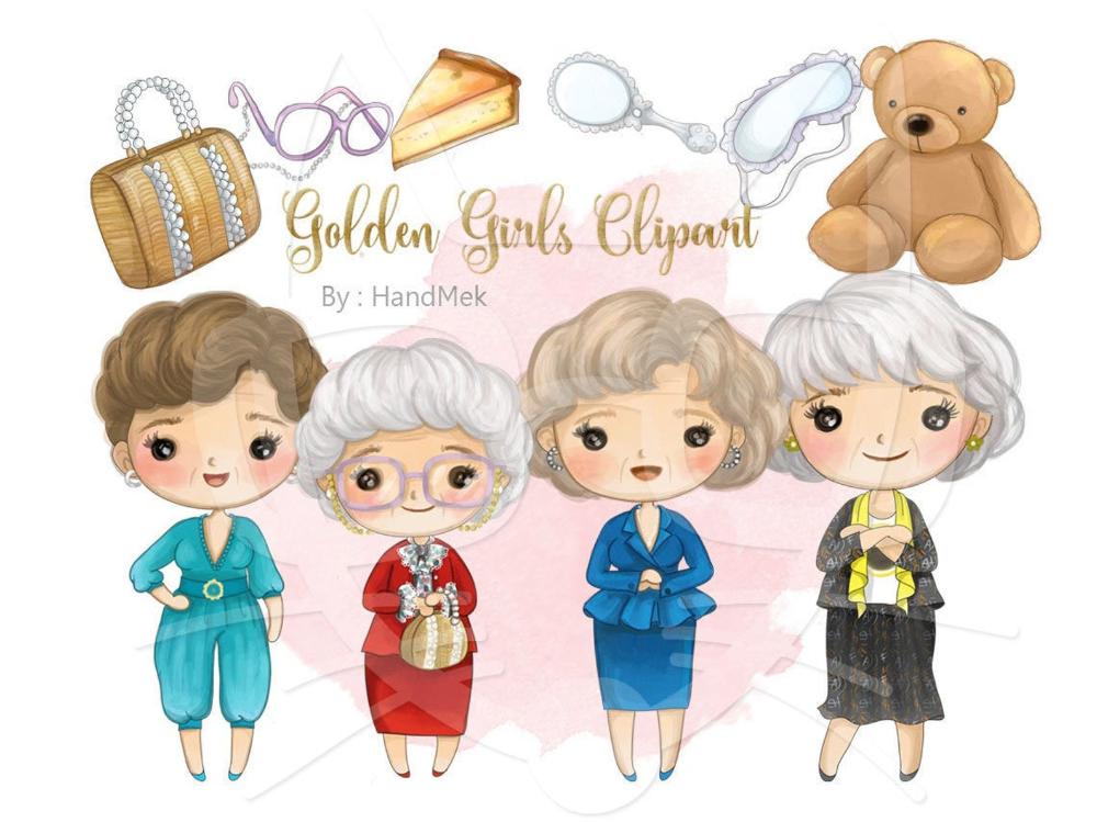Cute Golden Girls Clipart Instant Downloadpng File 300 Dpi Etsy Girl Clipart Golden Girls Clip Art