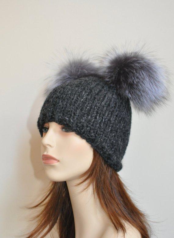 Double Pompom Hat Chunky Beanie Hat with 2 Fur Pom Pom Hat SALE Ski Women Hat  Kylie Jenner Style Chr 1bd10f9bdb0