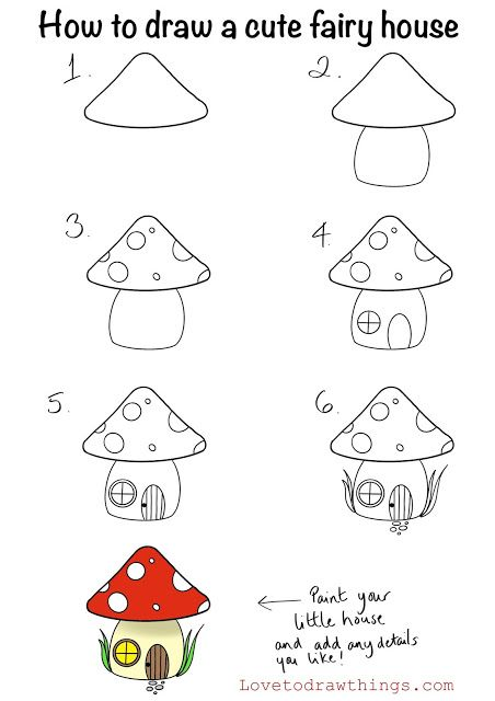 How to draw a cute fairy house